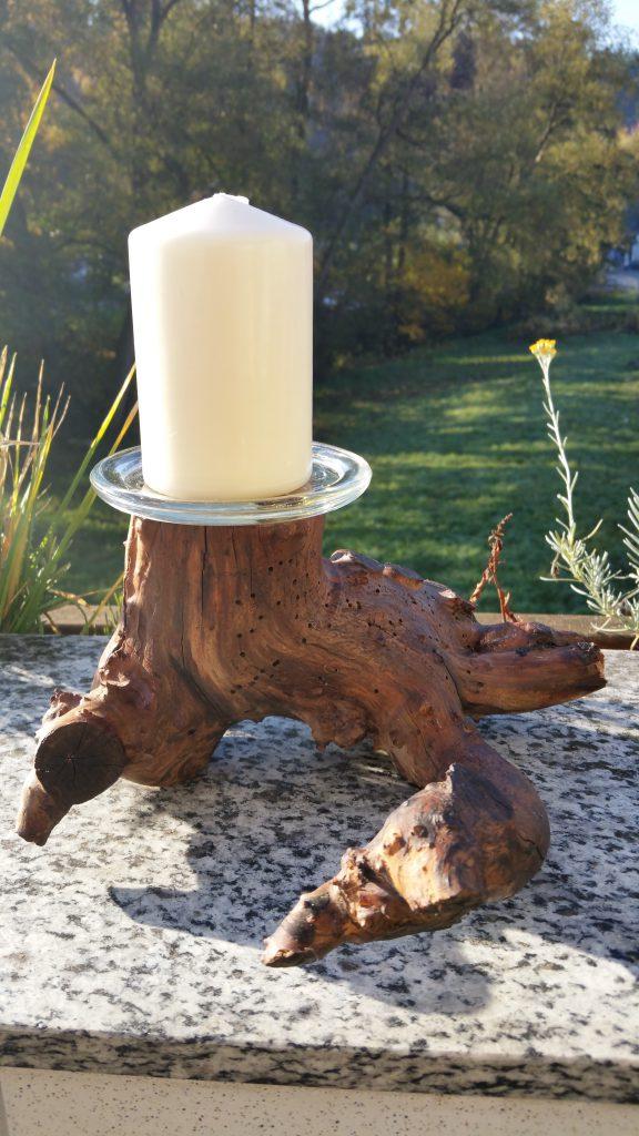 Kerzenstänger aus gestocktem Apfelholz